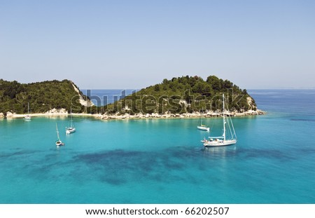 Lakka harbour in Paxos Greece - stock photo