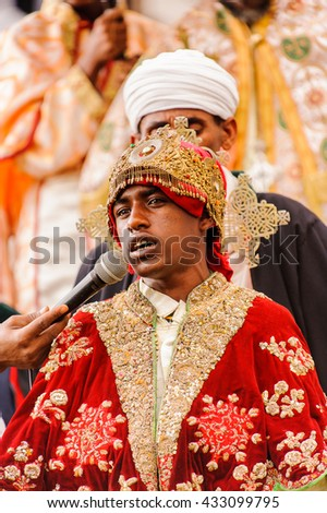 LALIBELA, ETHIOPIA - SEP 27, 2011: Unidentified Ethiopian religious man during the Meskel festival in Ehtiopia, Sep 27, 2011. Meskel commemorates the finding of the True Cross