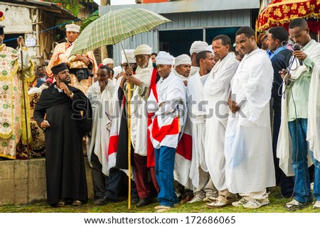 LALIBELA, ETHIOPIA - SEP 27, 2011: Unidentified Ethiopian religious people during the Meskel festival in Ehtiopia, Sep 27, 2011. Meskel commemorates the finding of the True Cross