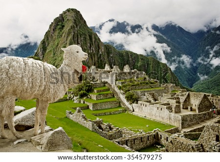 Lama in Machu Picchu, Peru. UNESCO World Heritage Site