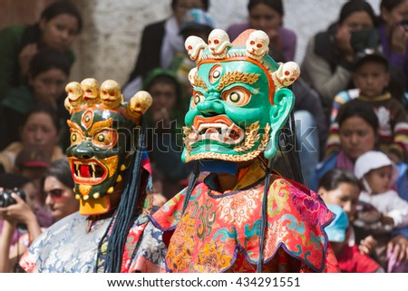 Lamayuru, India - June 17, 2012: unidentified monk performs a religious masked and costumed mystery dance of Tibetan Buddhism during the Cham Dance Festival in Lamayuru monastery, India. - stock photo