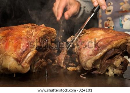 Lamb and Pork Carvery - stock photo