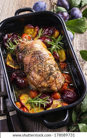 lamb braised with plums  - stock photo