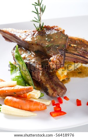 lamb chop with vegetable