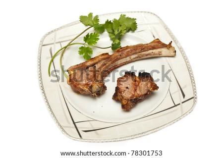 lamb chops kebab against white background - stock photo