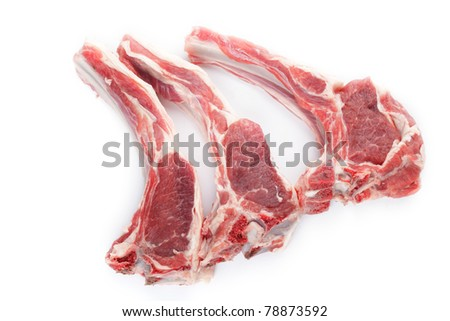 Lamb cutlet isolated on white