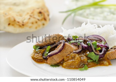 Lamb Dopiaza, a meat curry garnished with onions and coriander, served on rice with naan and raita behind - stock photo
