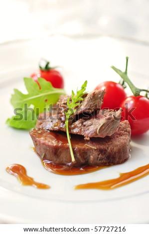 lamb fillet with teriyaki sauce - stock photo