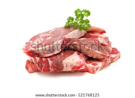 Lamb Forequarter chops isolated on white