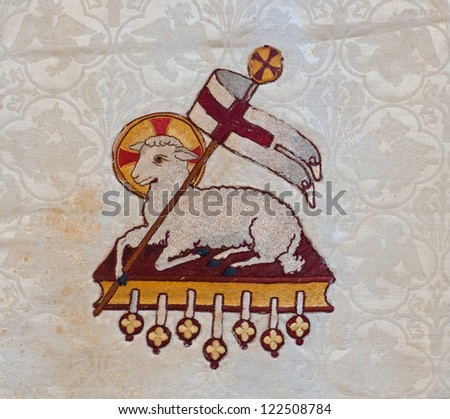 Lamb God Easter Symbol Embroidered On Stock Photo Safe To Use