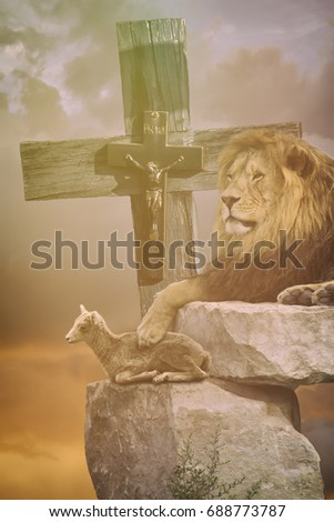 Lamb God Lion Cross Religious Christian Stock Photo Royalty Free