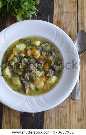 Lamb, potato and vegetable stew topped with chopped chives and parsley - stock photo