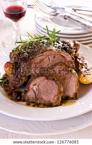 lamb roast - stock photo