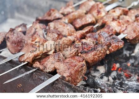 Lamb Shish kebab on Fire. Appetizing fresh meat shish kebab prepared on a grill wood coal, outdoor. - stock photo