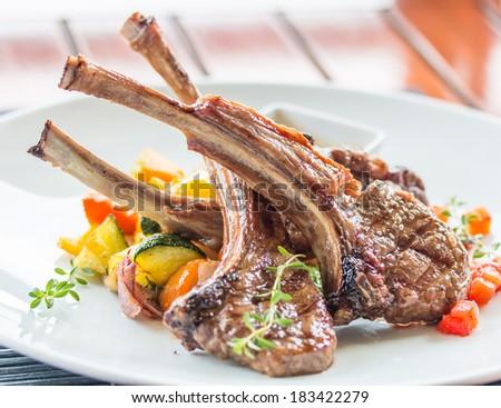 lamb steak , lamb cutlets  - stock photo