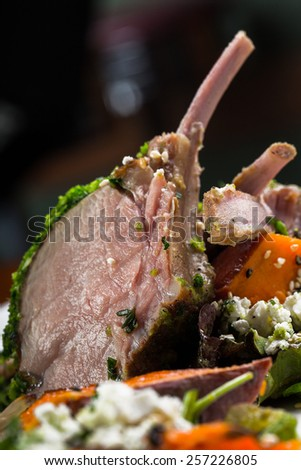 lamb steak with vegetables - stock photo