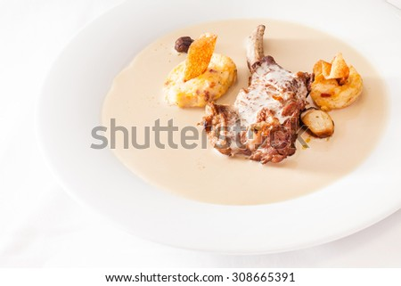 lamb with sauce - stock photo