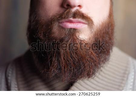 Lambersexual Perfect beard. Close-up of young bearded man. - stock photo
