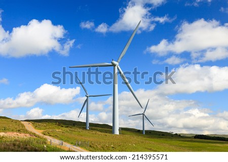 Lambrigg Wind Farm. Lambrigg Wind Farm opened in 2000 and is located on Lambrigg Fell in Cumbria, northern England. The wind farm contains five wind turbines. - stock photo