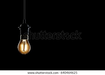 lamp and black space