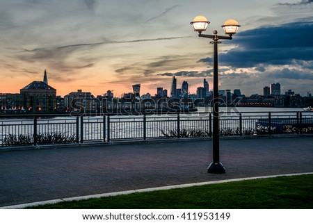 Lamp and London city - stock photo