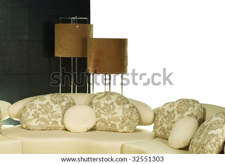 lamp and pillow - stock photo