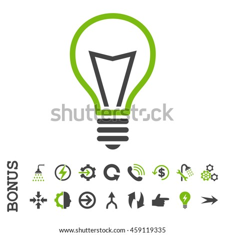 Lamp Bulb glyph bicolor icon. Image style is a flat iconic symbol, eco green and gray colors, white background. - stock photo