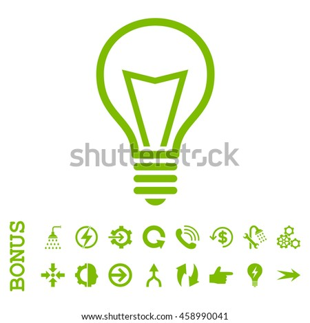 Lamp Bulb glyph icon. Image style is a flat iconic symbol, eco green color, white background.