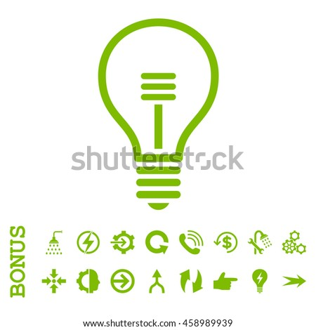 Lamp Bulb glyph icon. Image style is a flat pictogram symbol, eco green color, white background. - stock photo