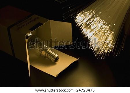 Lamp bulb optical fiber floodlight. - stock photo