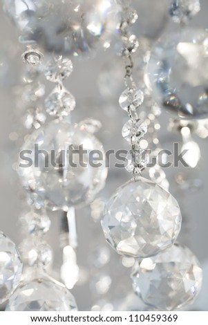 lamp chandelier crystals in light background