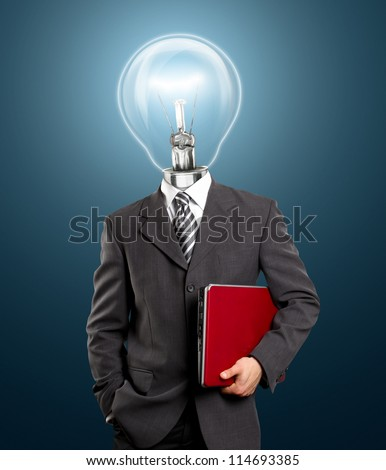 Lamp head business man with red laptop in his hands - stock photo