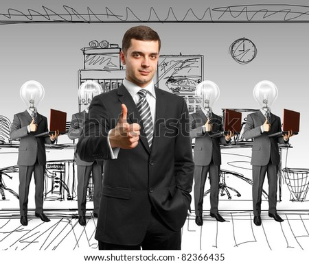 lamp head business people with man shows well done - stock photo