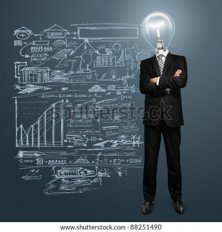 lamp head businessman have got an idea - stock photo