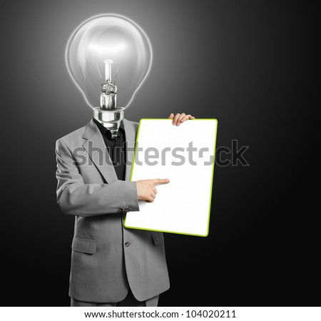 Lamp head businessman holding empty write board in his hands - stock photo