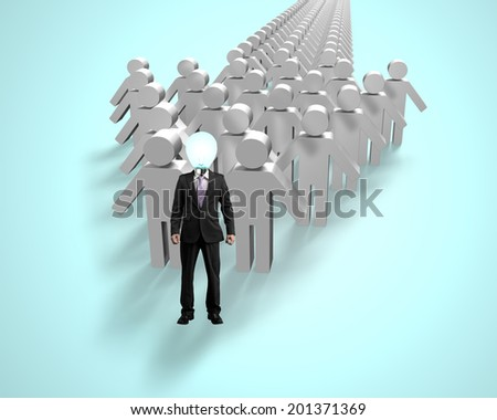 Lamp head businessman in first position of arrow shape - stock photo