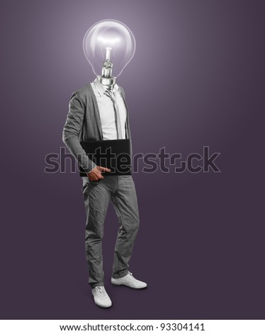 lamp head businessman with laptop in his hands - stock photo