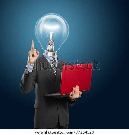 lamp head businessman with red laptop in his hands