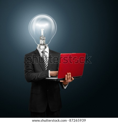 lamp head businessman with red laptop in his hands - stock photo