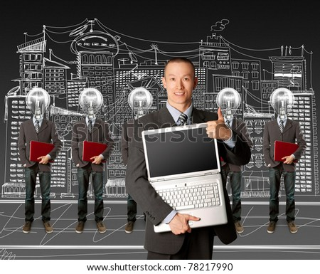 lamp head businesspeople with red laptop in his hands - stock photo