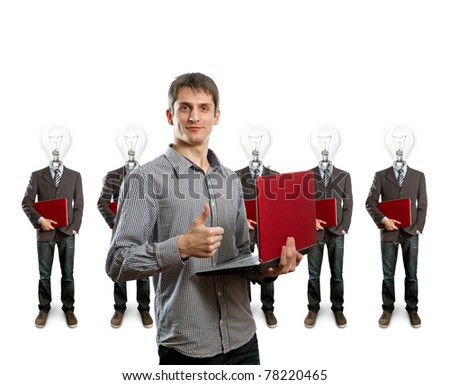 lamp head businesspeople with red laptop in his hands