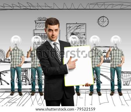 lamp head businesspeople with shows well done - stock photo