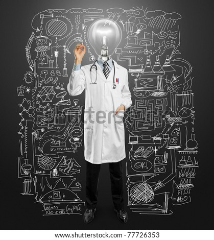 lamp-head doctor male writing something with marker on glass