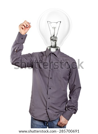 lamp head Idea concept. Man writing something on glass board with marker - stock photo