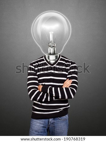 Lamp Head man in striped, looking on camera, with folded hands - stock photo