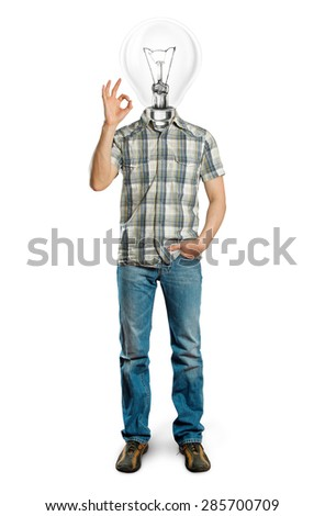 lamp head man shows OK against different backgrounds - stock photo