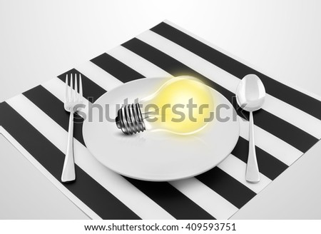 Lamp in plate and fork and spoon, Serving an idea concept