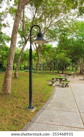 lamp in the Park - stock photo