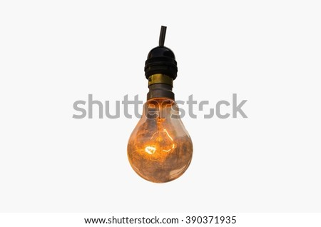 lamp isolated on white background,light lamp decor glowing,beautiful lamp,Lighting decor,Old lamps hanging - stock photo
