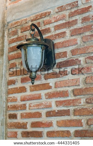 lamp light on the brick wall
